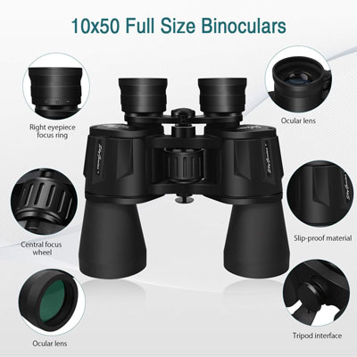 SkyGenius 10x50 Powerful Full-Size Binoculars