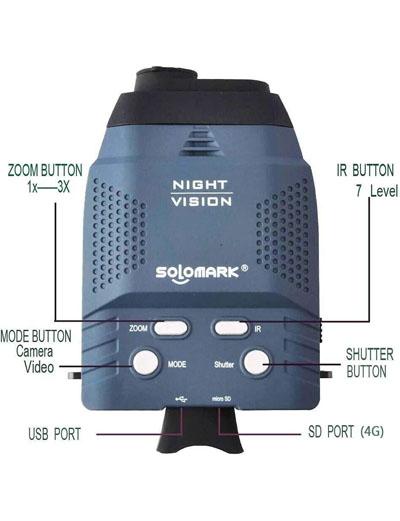 Solomark Night Vision Monocular, Blue-Infrared Illuminator Allows Viewing in The Dark
