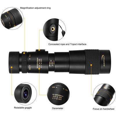 Aurosports 10-30x40 Zoom Monocular