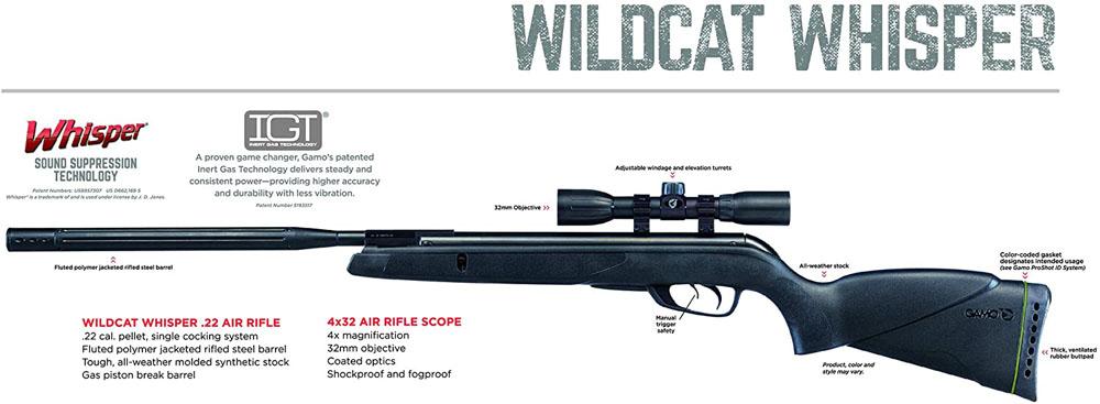 Gamo Wildcat Whisper Air Rifle Scope Combo