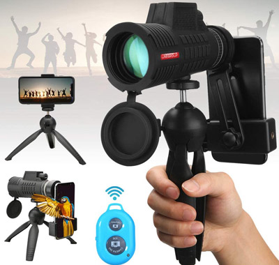 UNEGROUP Monocular Telescope with Smartphone Adapter & Tripod