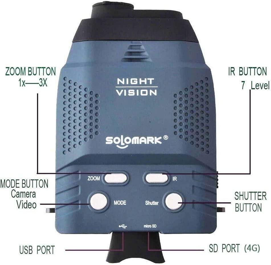 Solomark Night Vision Goggles, Blue Infrared Illuminator