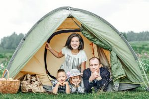 Camping with Family Tent, Parents, Two children, Summer vacation