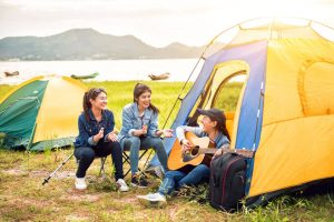 Travel and camping at natural park, recreation with tourist Backpacking Tents in the forest